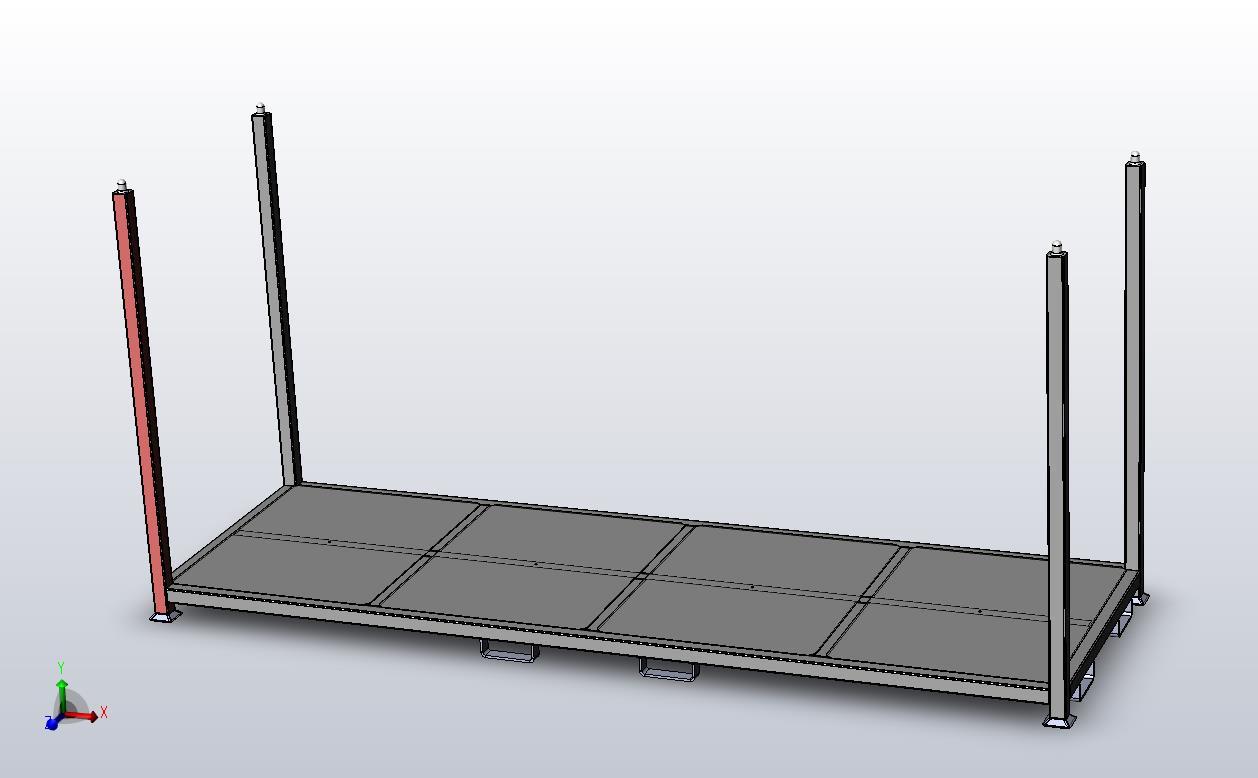 Flat Deck Steel Pallet side view