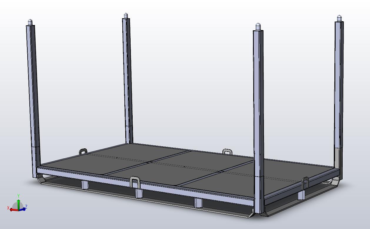 Flat deck steel palllet